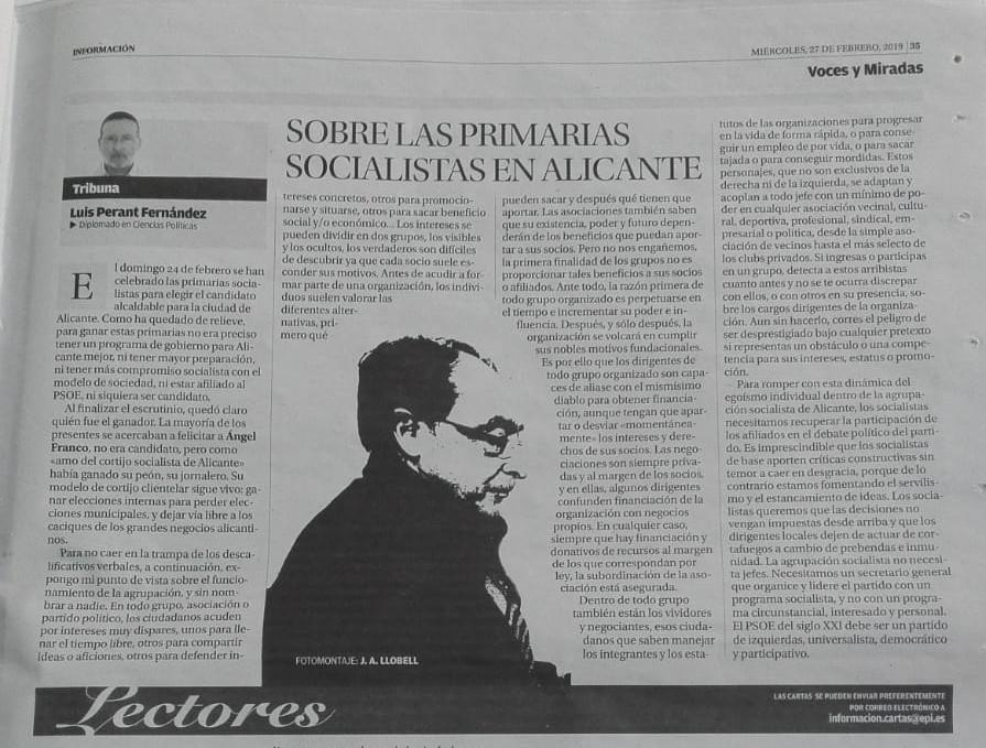 Sobre las primarias socialistas en Alicante